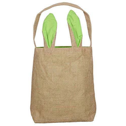 HYhy Easter Bunny Taschen Easter Bunny Baskets Jute Sackleinen Bunny Ohr Tote Taschen, grün