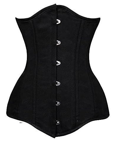 Charmian Women's Spiral Steel Boned Long Torso Training Underbust Corset Underbust Black Medium