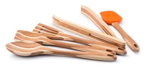 Rachael Ray Marburg 53126Tools & # 44; 5tlg Bambus Werkzeug Set, massiv Löffel & # 44; Rührlöffel & # 44; Schlitz Turner & # 44; Silikon & # 44; Zange