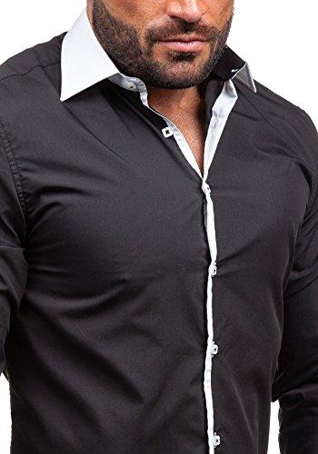 BOLF Herrenhemd Langarm Hemd Figurbetont Freizeithemd Klassisch 2782 Schwarz