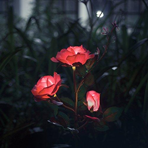 XLUX Beleuchtung Außen Solarleuchte Garten, Solar Garten Lampen mit LED Rose Lichter, Dekoration Lichter für den Garten Rasen Terrasse Feld Weg, Rosa