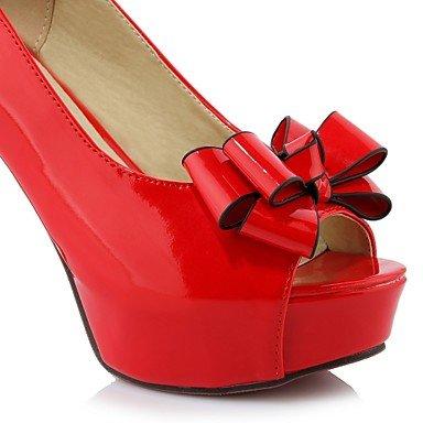 CH&TOU Da donnaTempo libero Formale Casual-Plateau-Quadrato Plateau-Finta pelle-Nero Rosso Bianco red
