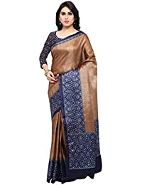 Rajnandini Women's Brown Tussar Silk Kalamkari Printed Saree