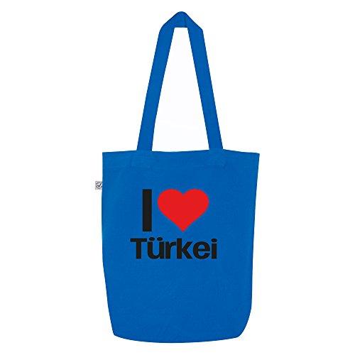 i love Türkei Motiv auf Umhängetasche, Jutebeutel, Tasche, stylisches Modeaccessoire, Unisex, viele Sprüche und Designs