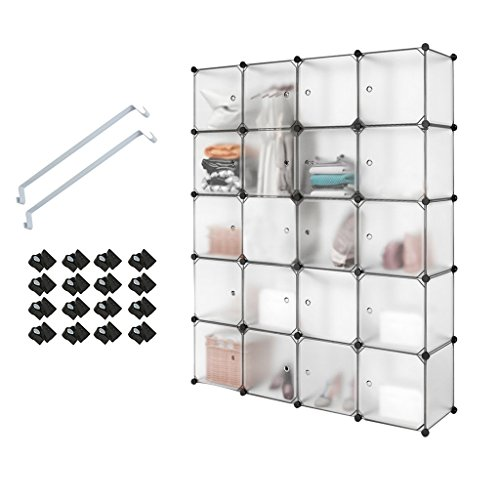 Armario de plástico entrelazado, PONCTUEL ESCARGOT organizador de almacenamiento de cubos con puertas translúcidas para artículos personales, ropa, zapatos, juguetes, 20 cubes