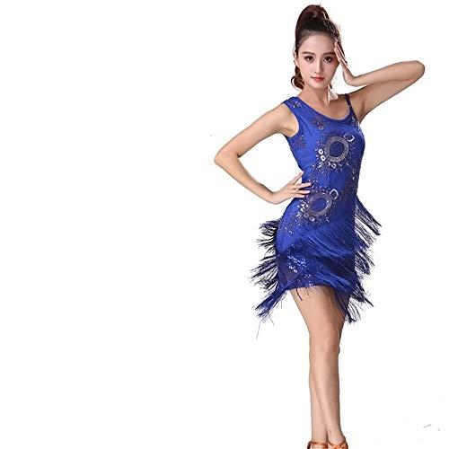 Bauchtanz Kleid Perlen Floral Pailletten Fringe Ballsaal Samba Latin Dance Kostüm Swing Rumba Kleid Damentanzkostüm (Farbe : Blau, Größe : L)
