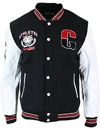 4b16f78b7198 ox king Blouson Homme Style USA Baseball Doublure Molleton Badges et  Manches Cuir PU