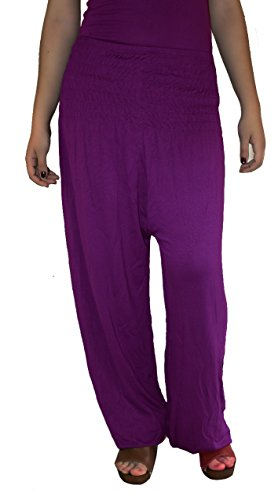 Damen Pumphose / Haremshose / Yoga Pant Stretch Pump Sport Aladin Hose (Dunkel-Lila)
