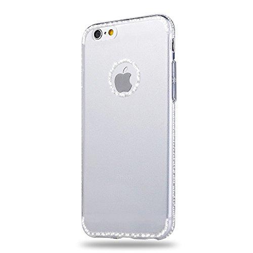 "Sunroyal iPhone 7 (4.7"") 0.3mm Hülle Pink Rosa TPU Case Handyhülle Schutzhülle Silikon Rückseite Klar Clear Case Durchsichtig Bumper Zurück Bling Crystal Kirstall Diamant Strass Rhinestone Frame Rahme Silber"