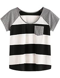 ROMWE Damen Farbblock Baumwoll T-Shirt mit Tasche Streifen Sommer Top  Oberteil 98cf646c8f