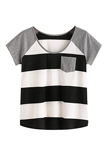 100 Baumwolle Damen T-shirt (ROMWE Damen Farbblock Baumwoll T-Shirt mit Tasche Streifen Sommer Top Oberteil Schwarz L)