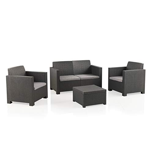 Shaf EVO Conjunto Muebles Sofá 2 Plazas + 2 Sillones, Antracita
