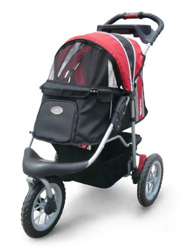 "InnoPet Hundebuggy Hundewagen Hundekinderwagen ""Comfort EFA"" – hochwertig stabil schwarz rot klappbar - 2"