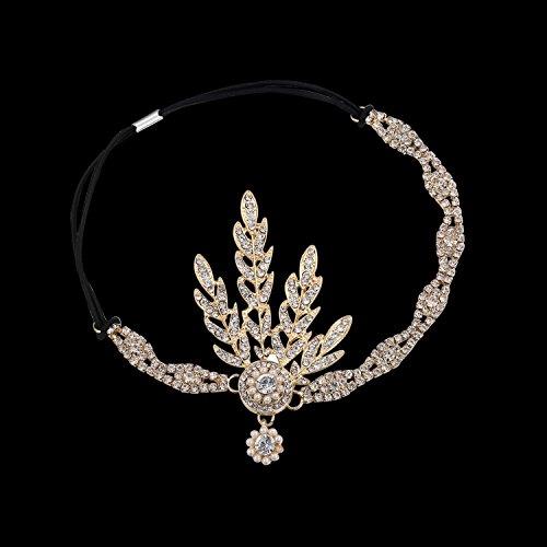 Babeyond® Flapper Great Gatsby Inspiriert Art Deco 1920 Blattmedaillon Perle Kopfschmuck Kopfband runden Goldene -