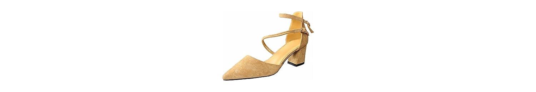 KPHY Zapatos de mujerEn Primavera Y Verano Doble Botonadura Puntiagudas 7 Cm Zapatos De Tacon Alto Hembra Rough... -