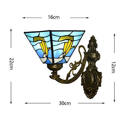 BBG Schöne und großzügige Wandleuchte Europäische Tiffany-Stil Segelboot Wandleuchte Mittelmeerfarbe Glas Lampenschirm Einfache Kinder 'S Wohnzimmer Schlafzimmer Bedside Study Porch Villa Fixture 220