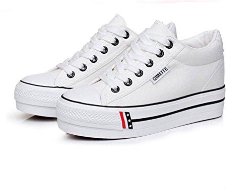 Damen Dicke Sohle Plateau Innen Aufzug Schnürsenkel Modische Stil Schöne Lässige Sneakers Weiß