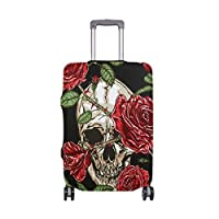 MyDaily Skull with Rose Flower Vintage Luggage Cover Fits 18-32 inch Suitcase Spandex Travel Protector