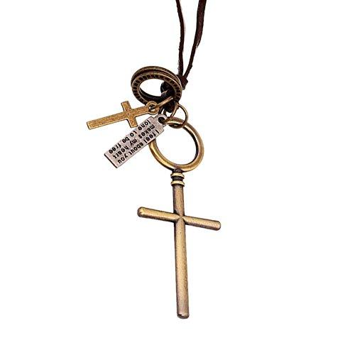 Fengteng Retro Herren Halskette, Kreuz Anhänger, Kruzifix Rund Halsschmuck, Punk Lange Leder Kette Schmuck, Kreative Geschenk (Bronze)