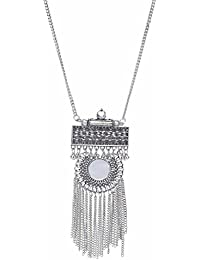 Silver Metal Sin Round Mirror Tassal Long Chain Necklace For Girls & Women.Total Fashion