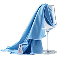 culinarii Microfiber Polishing Cloths for Glass Glasses High-Gloss Surfaces 70 x 80 centimetres, Premium, Pack of 2 Cloths, Blue-Blue