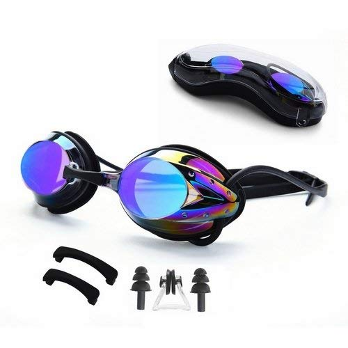 FTALGS Adjustable Swim Goggles, Swimming Goggles No Leaking Anti Fog UV Protection Triathlon with Free Protection Case Ear Plug Nose Clip & Protective Case for Women Men Adult Youth Kids