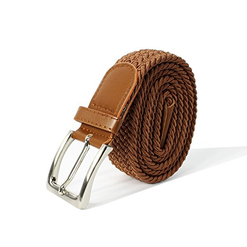 Glamexx24 Unisex Elastischer Stoffgürtel Geflochtener Stretchgürtel Dehnbarer Gürtel für Damen und Herren, Braun, 110cm