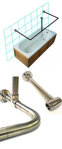 Byretech Stainless Steel Shower Rail - C to Wall & Ceiling Kit (Cut To Size, Fixings Included) SRSS05