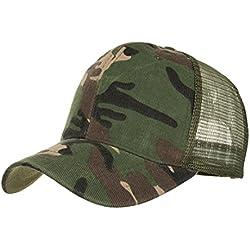 Absolute Gorras ☀️ Gorras de béisbol camuflaje, verano Sombreros de malla para hombres Mujeres Sombreros casuales Hip Hop (Verde del ejército)