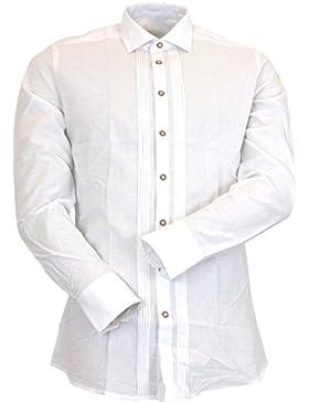 OS Trachten by Orbis Slim Fit Trachtenhemd Manuel mit Zierbiesen weiss bis 4XL