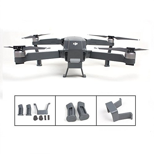 TELESIN Heightened Extended Landing Skid Gear Legs Holder Mount Protective Set For DJI Mavic Pro Accessories-Grey -