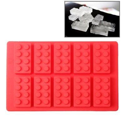 Eiswürfelform / Eiswürfelschale aus Silikon / Lustige Eiswürfel - Block Blöcke Bauklötzer 10er Form Eis-block-maker