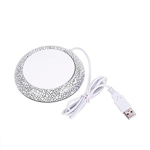 Zerone USB Holzmaserung Tassenwärmer Hitze Getränkebecher Matte Büro Tee Kaffee Heizung Pad(weißes porzellan muster) - Porzellan Wärmer
