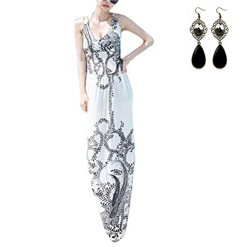 M-Queen Femmes Dames Sexy Sans Manches Floral Bohémien Imprime Longue Maxi Robe Soleil Plage D'ete Sundress Blanc