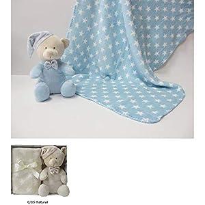 Duffi Baby- Manta Estampada y Peluche, 90 x 75 cm, Color Natural (Master Baby Home, S.L. 4075-05)