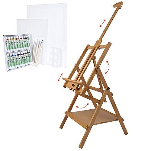 Artina-Chevalet-en-bois-de-htre-Lyon-Set-de-26-pices-pour-peinture-aquarelle