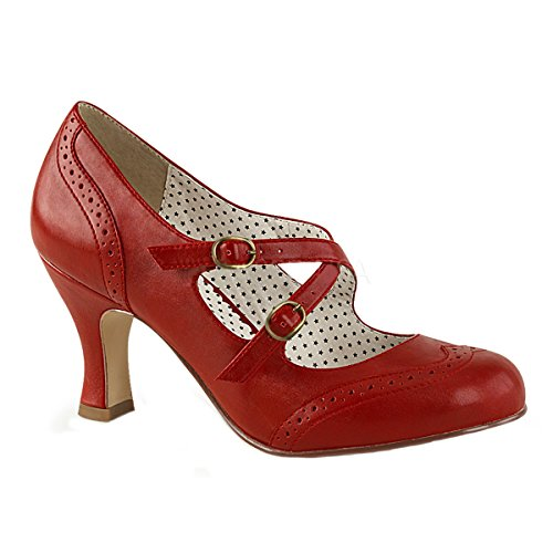 Pin Up Couture Damen Maryjane Pumps Flapper-35 rot Gr. 43,5 (Flapper Gangster Kostüme)