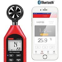 Digital Windmessgerät Anemometer Thermometer Bluetooth-Anemometer Handheld-Mini-Digitalanemometer mit Thermometer und Max / Min für Wetterdatenerfassung und Outdoor-Sport Windsurfing-Segeln mit Hinter