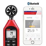 Estaciones meteorológicas portátiles Anemómetro Bluetooth de mano, mini anemómetro digital de mano con termómetro y máx. / Mín. Para la recopilación de datos meteorológicos y deportes al aire libre Na