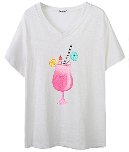 So'each Women's Drinks Graphic Print V-Neck Tee T-shirt Ladies Casual Top Weiß