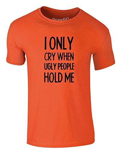 Brand88 - I Only Cry When..., Erwachsene Gedrucktes T-Shirt Orange/Schwarz