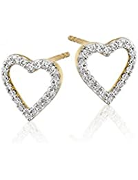 Dividiamonds Round Cut Clear Cubic Zirconia 18k Gold Plated Sterling Silver Open Heart Stud Earring - Gift For...