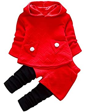 Kobay Kleinkind Kinder Baby Mädchen Outfits Lange Ärmel Kapuzen-T-Shirt Tops + Hosen Kleidung Set