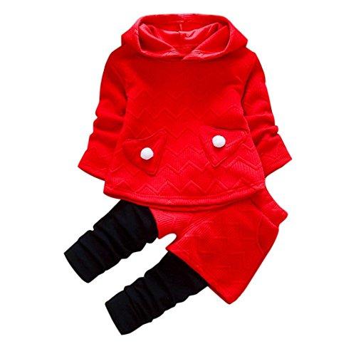 Kobay Kleinkind Kinder Baby Mädchen Outfits Lange Ärmel Kapuzen-T-Shirt Tops + Hosen Kleidung Set (80/1Jahr, Rot) -