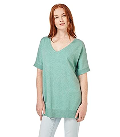 WoolOvers Womens Cashmere and Cotton Short Sleeve Knitted Tunic Aquamarine, XL
