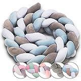 Bettschlange geflochten Bettumrandung Babybett - nestchen für Baby Schlange ZOPFSCHLANGE bett umrandungen 210 cm