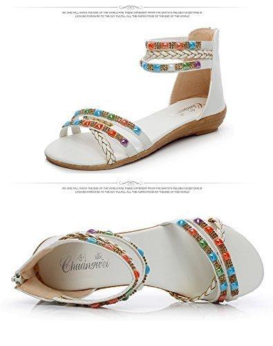 Minetom Femme Eté Rhinestone Bohême Sandales Confortable Chaussures de Plage Plateforme Tongs Blanc