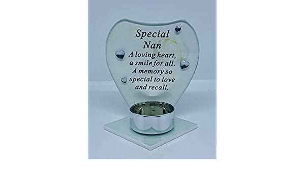 NAN Glass Remembrance Memorial Tea Light Candle Holder With Missing You Verse