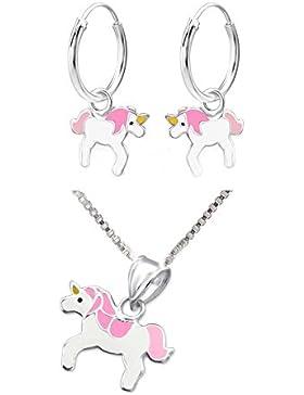 SL-Silver Set Kette Kinder Ohrringe Creolen Anhänger pinkes Einhorn 925 Silber in Geschenkbox