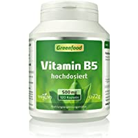 Vitamin B5 (Pantothensäure), 500 mg, hochdosiert, 120 Vegi-Kapseln – für Nerven wie Stahl und Haut wie Seide. OHNE künstliche Zusätze. Ohne Gentechnik. Vegan.